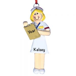 Nurse Blonde Personalized Christmas Ornament