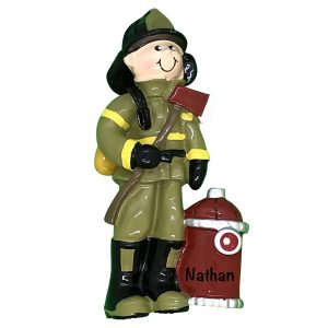 Fireman Hydrant Personalized Christmas Ornament