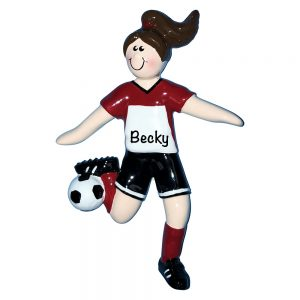 Soccer Girl Brown Hair Personalized Christmas Ornament