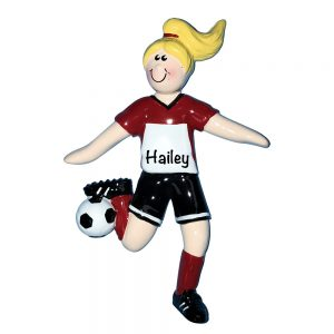 Soccer Girl Blonde Personalized Christmas Ornament