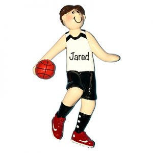 Basketball Boy - Brown Hair Personalized Ornament