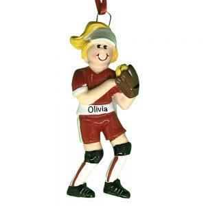 Softball Girl Personalized Christmas Ornament