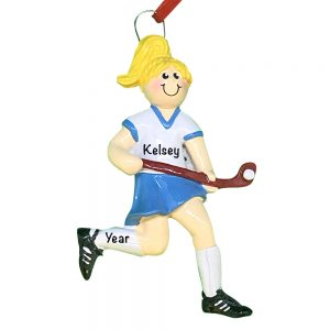 Girl Field Hockey Blonde Personalized Christmas Ornament