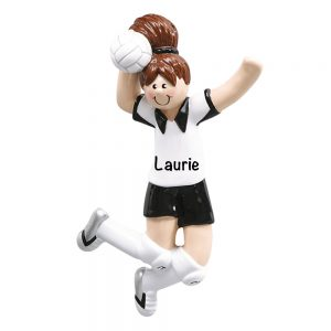 Volleyball Girl Brown Hair Personalized Christmas Ornament