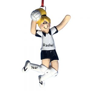 Volleyball Girl Blonde Personalized Christmas Ornament