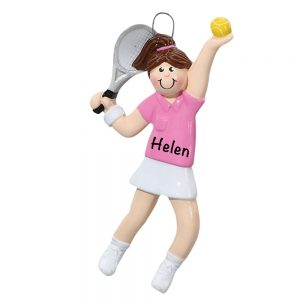 Tennis Girl Personalized Christmas Ornament - Blank