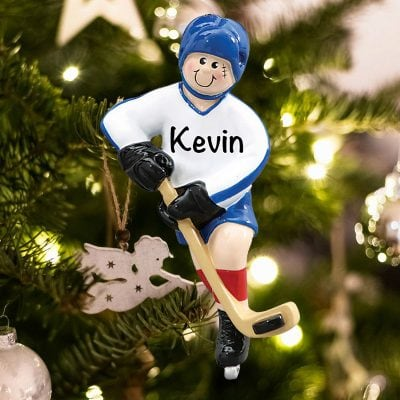 Personalized Ice Hockey Player Christmas Ornament