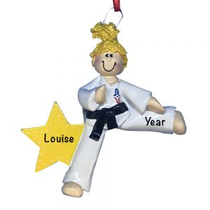 Karate Girl Blonde Personalized Christmas Ornament