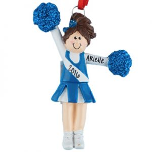 Cheerleader Blue Uniform - Brown Hair Personalized Ornament