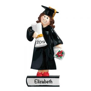 Graduation Girl Brown Hair Personalized Christmas Ornament