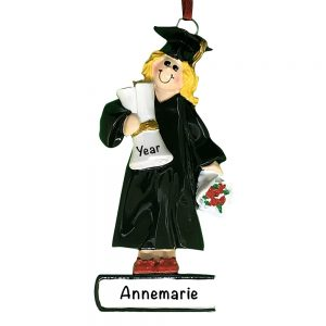 Graduation Girl Blonde Personalized Christmas Ornament