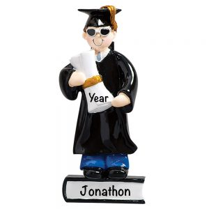 791B Graduation Boy Brown Hair Personalized Christmas Ornament