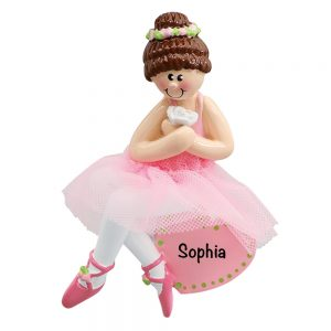Ballerina Girl Brown Hair Personalized Christmas Ornament