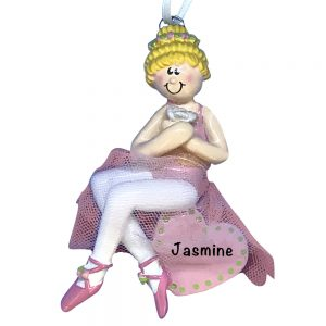 Ballerina Girl Sitting On Heart Blonde Personalized Christmas Ornament