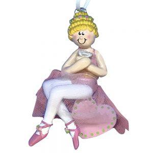 Ballerina Girl Sitting On Heart Blonde Personalized Christmas Ornament -Blank