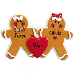 Gingerbread Family of 2 Personalized Christmas Ornament