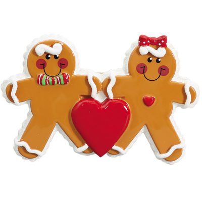 Gingerbread Family of 2 Personalized Christmas Ornament - blank