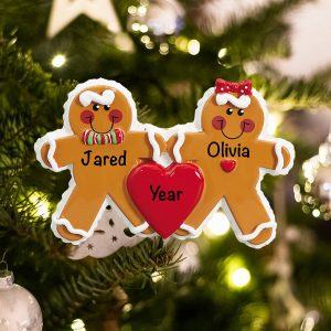 Personalized Gingerbread Family of 2 Couple Christmas Ornament
