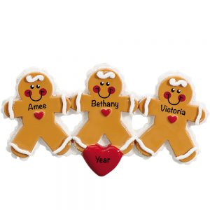 Gingerbread Family of 3 Personalized Christmas Ornament