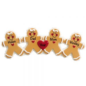 Gingerbread Family of 4 Personalized Christmas Ornament
