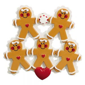 Gingerbread Family of 5 Personalized Christmas Ornament
