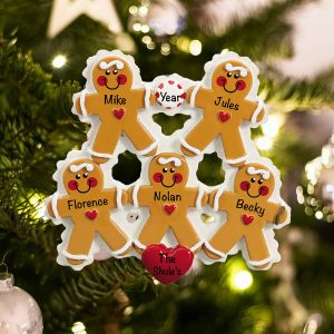 Personalized Gingerbread Family of 5 Christmas Ornament