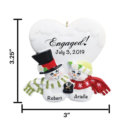Engaged Personalized Christmas Ornament