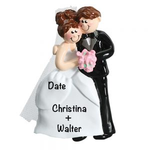 Wedding Couple Pink Flowers Personalized Christmas Ornament