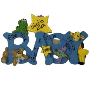 Blue Baby Boy - BABY Personalized Ornament