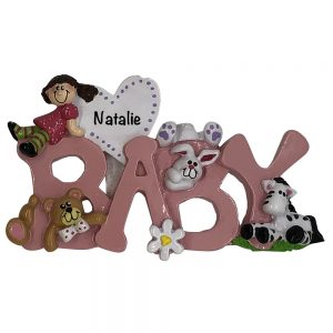 BABY Girl Personalized Christmas Ornament