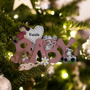 Personalized baby Pink Christmas Ornament