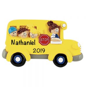 School Bus Kids Personalized Christmas Ornament