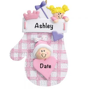 Pink Plaid Mitten Personalized Christmas Ornament