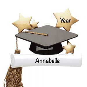 Graduation Cap and Tassle Personalized Christmas Ornament
