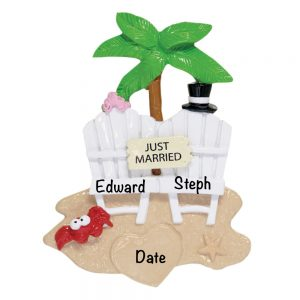 Just Married Beach Personalized Christmas Ornament