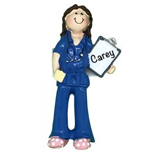 Scrubs Girl Blue Personalized Christmas Ornament