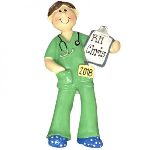 Green Scrubs Guy Personalized Ornament