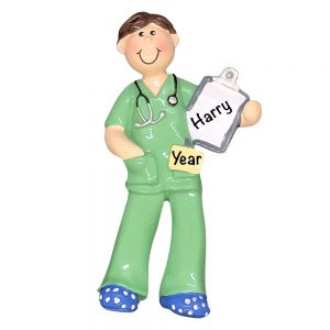Scrubs Medical Guy Personalized Christmas Ornament