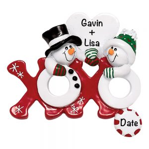 Hugs and Kisses Couple Personalized Christmas Ornament