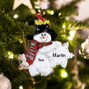 Personalized Snowman Birdsnest Christmas Ornament