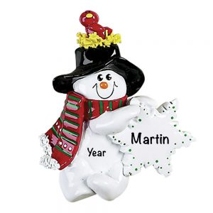Snowman Birdsnest Personalized Christmas Ornament