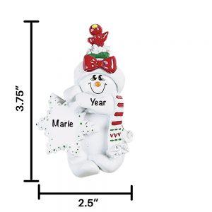 Birdsnest Snow Woman Personalized Christmas Ornament