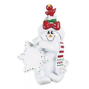 Snowman Woman Birdsnest Personalized Christmas Ornament - Blank
