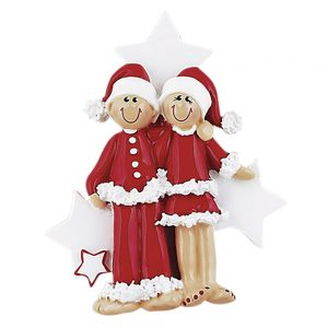 Christmas Outfit Couple Personalized Christmas Ornament - Blank