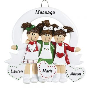 825 Friends Sisters 3 Personalized Christmas Ornament