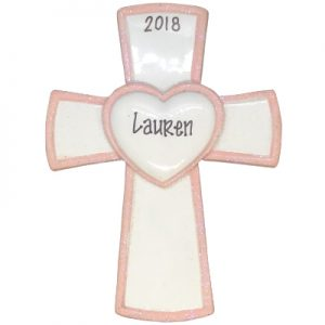 Pink Cross Personalized Ornament