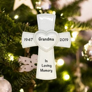 Personalized White Cross Religious Memorial Christmas Ornament