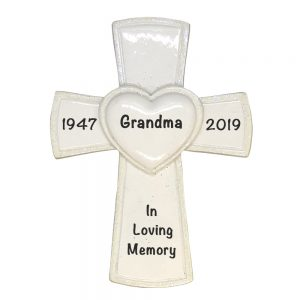 White Cross Religious Memorial Personalized Christmas Ornament