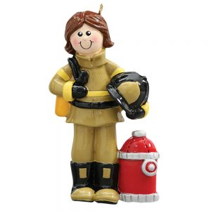 Firewoman Personalized Christmas Ornament - Blank