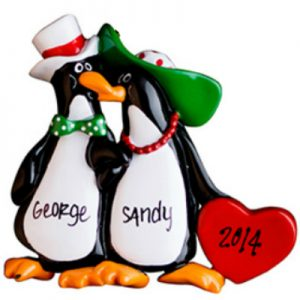 Floppy Hat Penguin Couple Personalized Ornament
